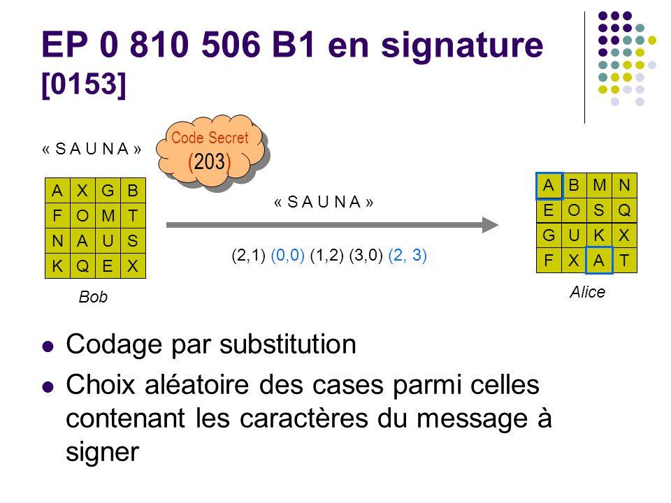 EP 0 810 506 B1 en signature [0153] Codage par substitution